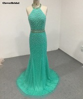 Richly Pearls Halter Green Pearls Mermaid Red Carpet Dresses With Crystals Waistband Size 2 16 Celebrity