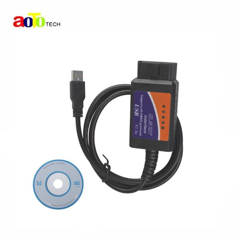 Prix pour 2016 Nouvelle Version ELM 327 V1.5 OBD 2 ELM327 USB Interface CAN-BUS Scanner Outil De Diagnostic Câble Code Soutien OBD-II Protocoles