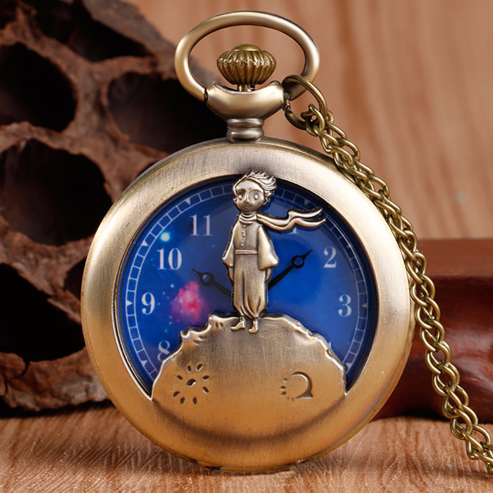 Hot Selling Classic The Little Prince Movie Planet Blue Bronze Vintage Quartz Pocket FOB Watch Popular Gifts for Boys Girls Kids