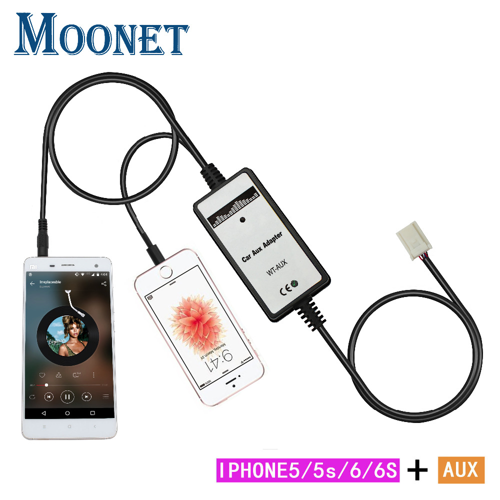 Moonet Car AUX Adapter MP3 3.5mm AUX Interface iphone Lightning (6 + 6 pin) fFor Toyota Avenis Corolla Venza Vitz Yaris RAV4 QX192