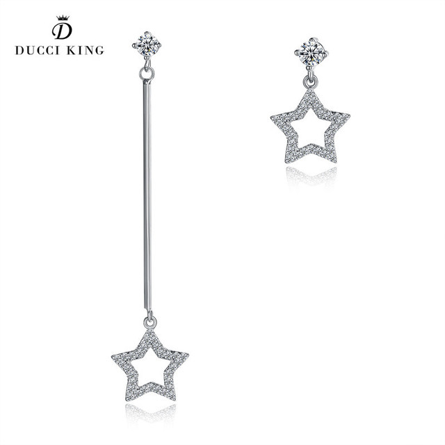 100 925 Sterling Silver Long Rhinestone Star Earrings Luxury Brand Dangle For Women Lady