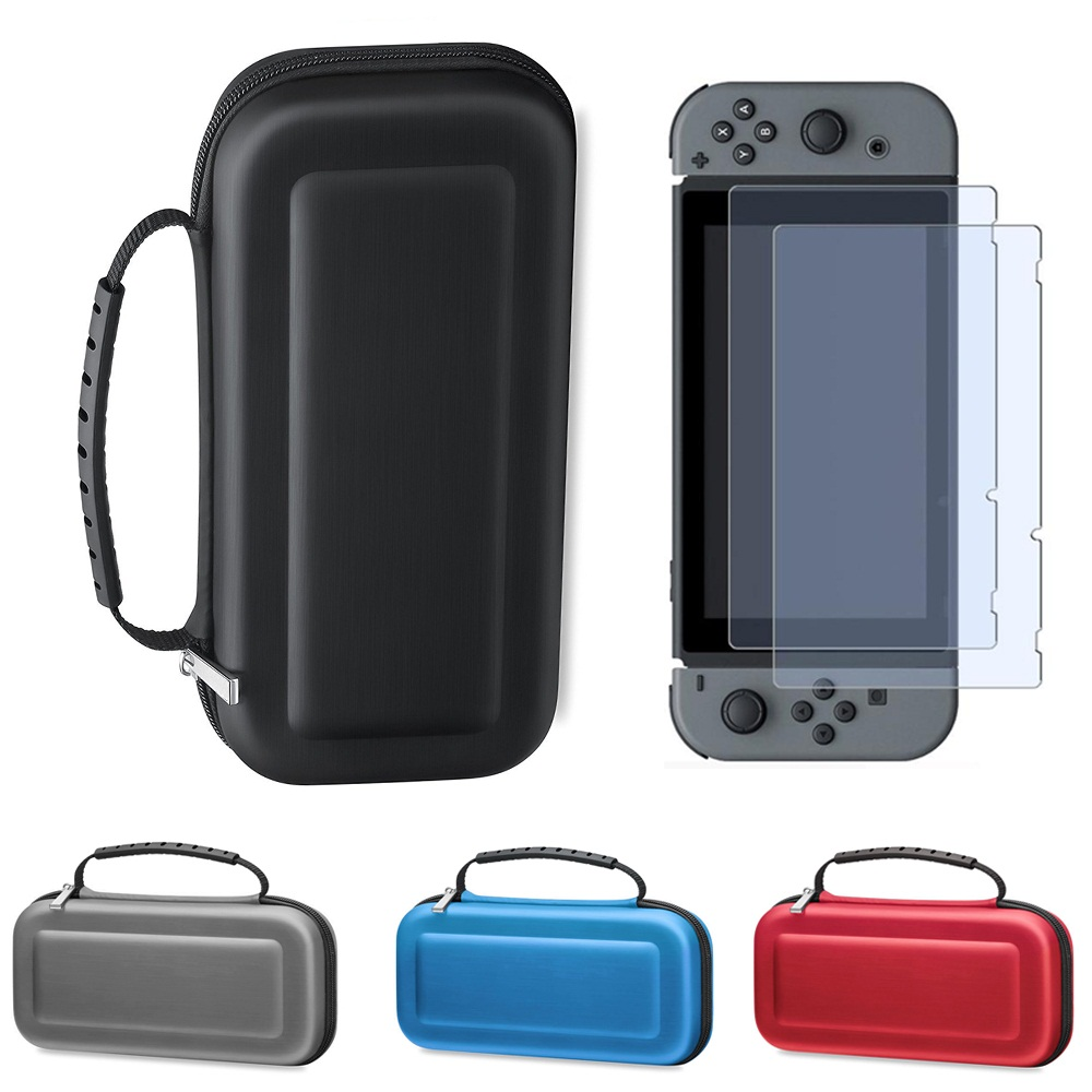 Carry Case for Nintend Switch Travel Carry Bag Shell with Handle + 2PCS HD Tempered Glass Screen Protector for Switch