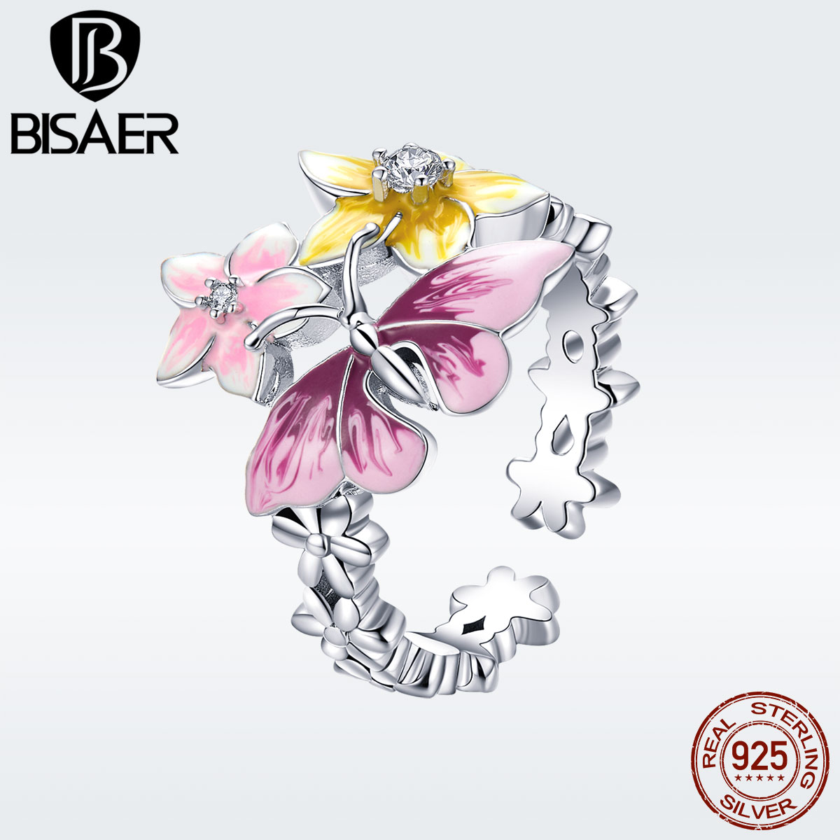 BISAER Butterfly and Flower Open Adjustable Finger Rings for Women Enamel Fashion Jewelry Bijoux Gifts GSR199 image