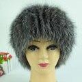 Mulheres chapéus de inverno genuína pele de raposa de alta qualidade malha chapéus de pele de raposa de prata caps feminino caps skullies gorros