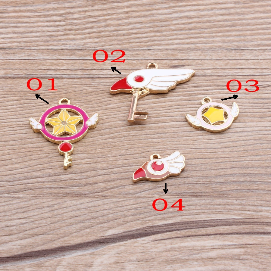 40pcs Golden Magic girl Sakura Charm, 3 Kinds Metal Charms for Bracelet/Chorker necklace wholesale