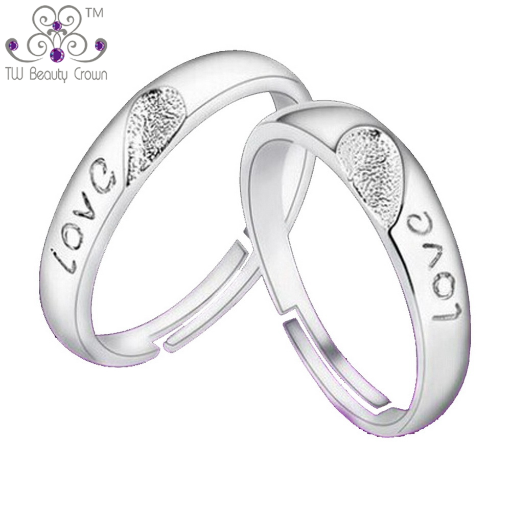 High Quality Real 925 Sterling Silver Love Heart Design Wedding Engagement  Rings Jewelry For Men Women