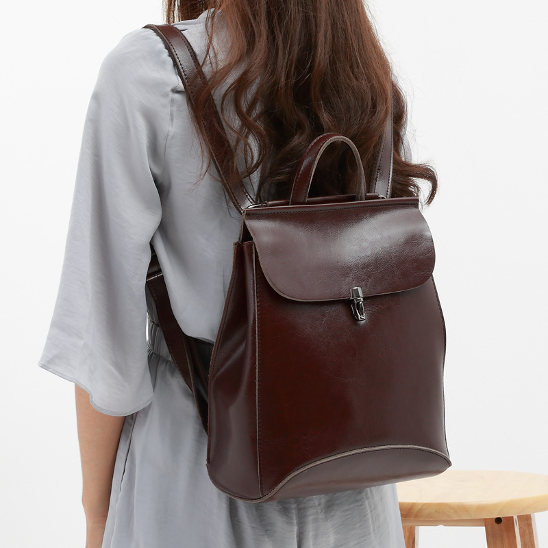 Spring Fashion Split Leather Backpack Women Bags Preppy Style Bagpack Girls School BookBags Zipper Shoulder Women's Back Pack nawo fashion genuine leather backpack rivet women bags preppy style backpack girls school bags zipper large women s backpack sac