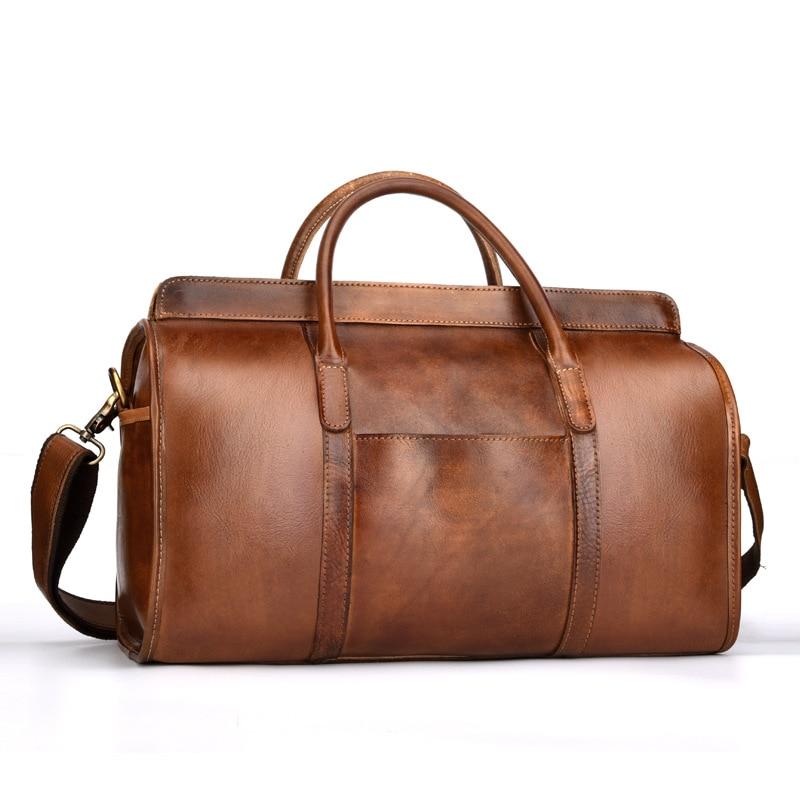 Luxury Vintage Natural Genuine Leather Men's Travel Bags Retro Cowskin Handbags Casual Small Short Trip Travel Bag