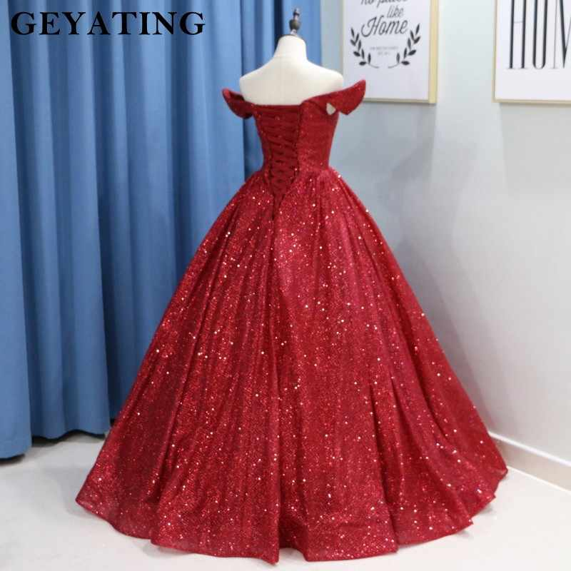 Glitter Wine Red Sequins Ball Gown Wedding Dress Luxury 2019 Dubai Burgundy Colorful Gowns Lace Up Arabic Bride Dresses