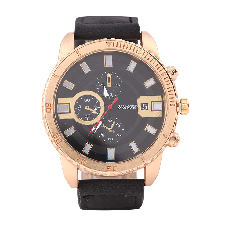 Luxury Top Brand GUOTE Watches Fashion Men's Big Dial Designer Leather Quartz Watch Male Wristwatch Relogio Masculino Relojes oulm mens designer watches luxury watch male quartz watch 3 small dials leather strap wristwatch relogio masculino