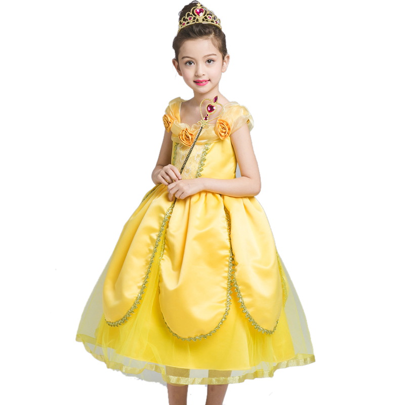 Christmas Halloween Princess Dress Cosplay Snow White Dress Costume Belle Princess Tutu Dress Kids Clothes Teenager Party 10 12 hot sale halloween cosplay costume for women snow white princess black wigs free shipping