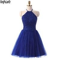 Vestido de festa Una Linea Ad Alta Neck Keyhole Indietro Royal Blue In Rilievo Top Corto Pageant Ragazze Prom Dresses Abiti Homecoming