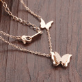 Scrub double butterfly necklace rose gold short paragraph clavicle chain Korean Lady pendant GX996 consignment 10/lot