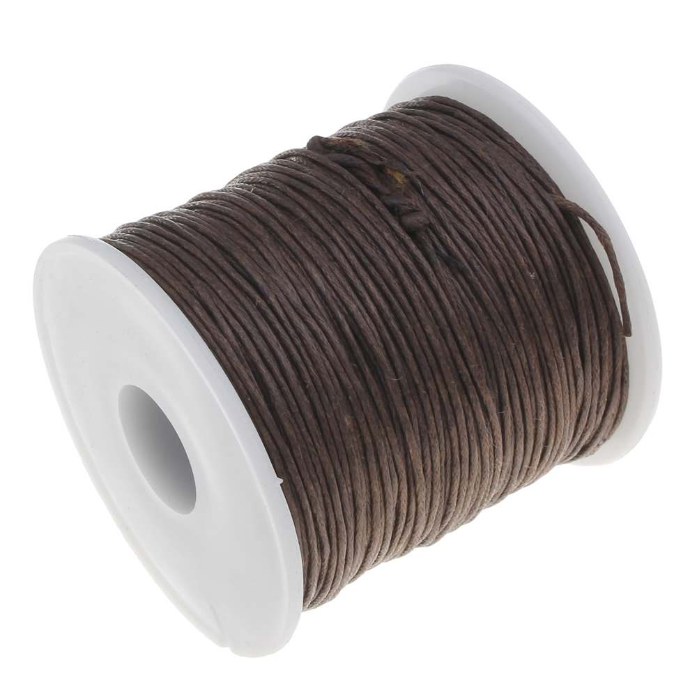 80Yards/Spool brown color Waxed Cotton Cord 1mm Wax Linen Cord plastic spool DIY Necklace Rope Bead Fit Bracelets