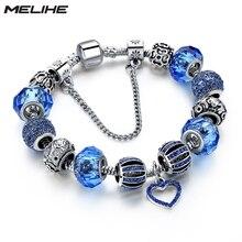Crystal Heart Charm Bracelets Women 2016 Blue Murano Beads Bracelets& Bangles Silver Plated  Diy Jewelry SBR160255 pink crystal charm bracelet silver beads women bracelets bangles 2016 vintage jewelry sbr160296