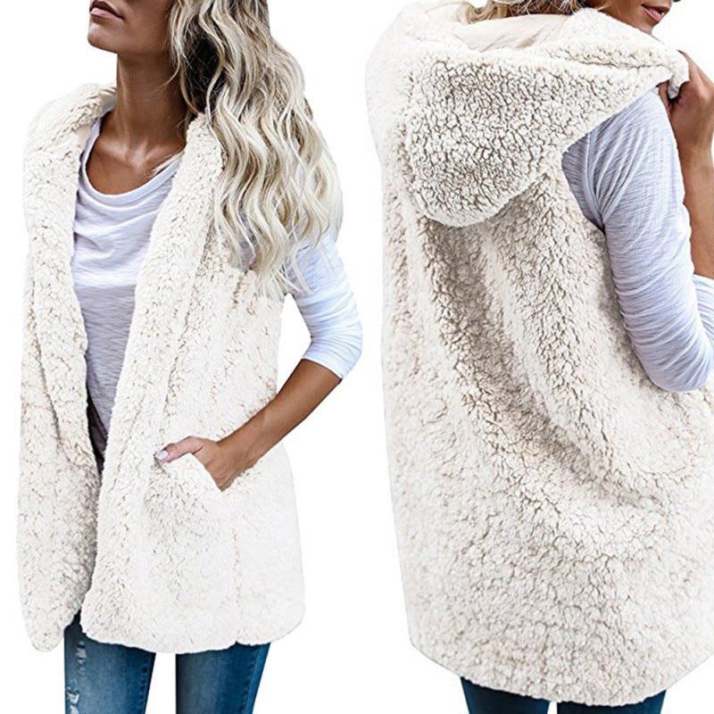 mujer sintética lana Chalecos de de para chaqueta abrigada piel EIa8RwqaA