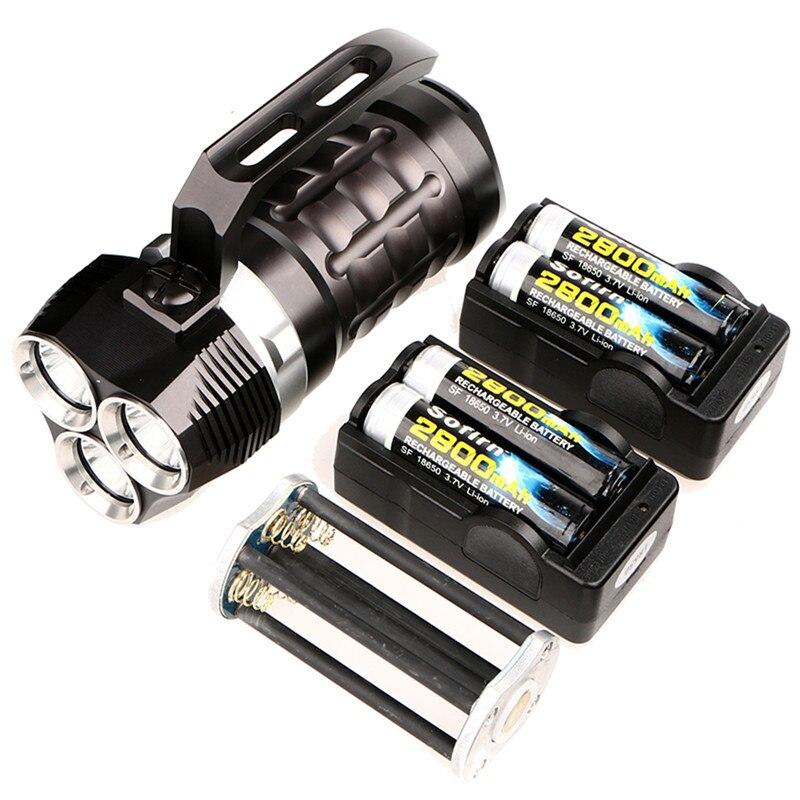 Sofirn Puissant Plongée sous-marine lampe de Poche 3 * Cree XPL 3000LM LED Lampe Torche Sous-Marine Projecteur SD01 avec 4*18650 batterie