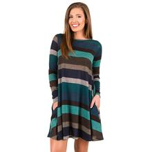 New Stripe Dress Women Color Patchwork Long Sleeve O-Neck Casual Loose Dress Female Vestidos Robe Women Clothing WS4033O