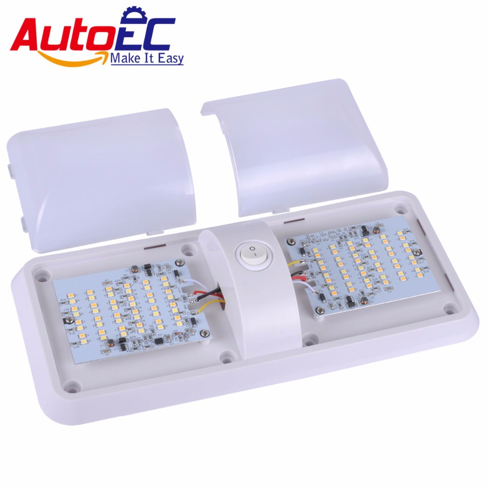 AutoEC 1PC dual colors 2835 12V LED Roof Ceiling Interior reading Dome Light For Camper Car Boat RV light Trailer lamp #LQ404 18w dual led ceiling lamp 140 270mm ce