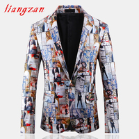 Men Printed Blazer Suit Brand Slim Fit Jacket Suit Male High Quality PU Fabric Big Size