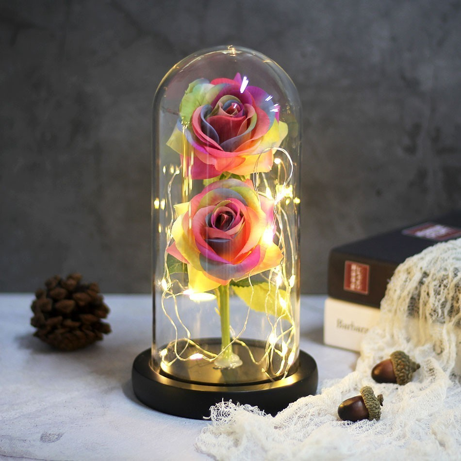 Two-Rose Flower-Light Flask Glass-Dome Beauty Valentines-Day-Gift Black NEN Base Best