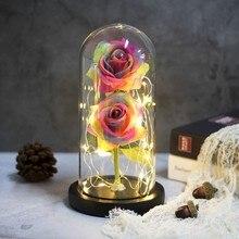 NEN, красивая и чудовищная Роза в колбе, светодиодный светильник с двумя розами, черная основа, стеклянный купол, лучший подарок на день Святого Валентина, рождественский подарок