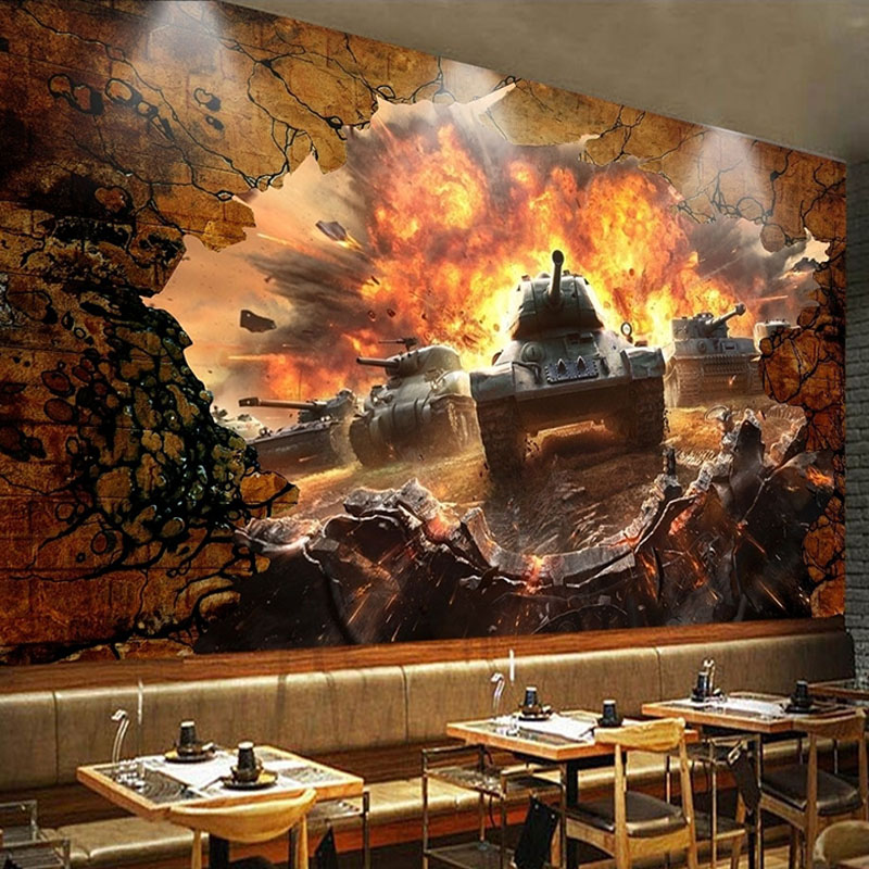Custom Mural Wallpaper 3D Stereo Tank Broken Wall Battlefront Photo Wall Paper For Kids Bedroom Restaurant Personality Wallpaper