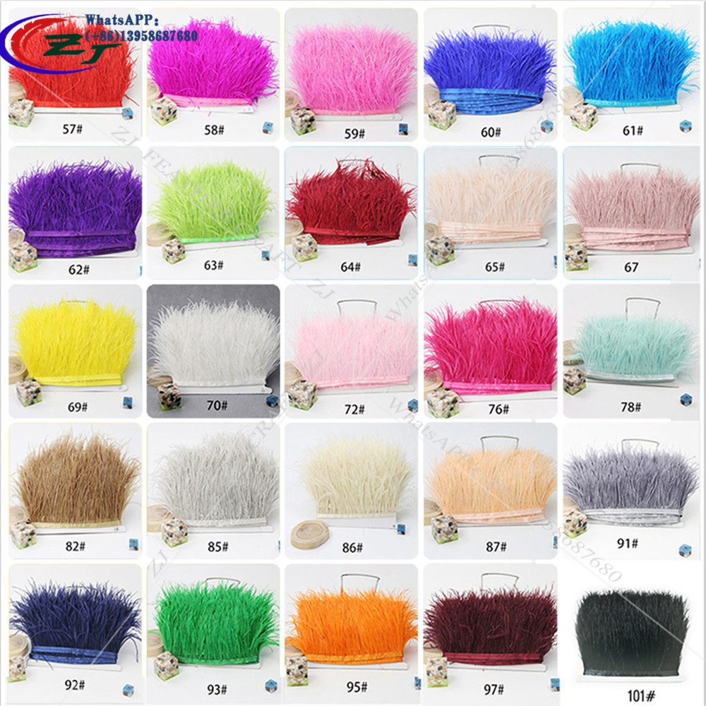 Wholesale 10mters 8-10cm Height  Natural Fluffy Ostrich Feather Trim Wedding Dress Feathers Ribbon/Fringe For DIY Craft /Costume