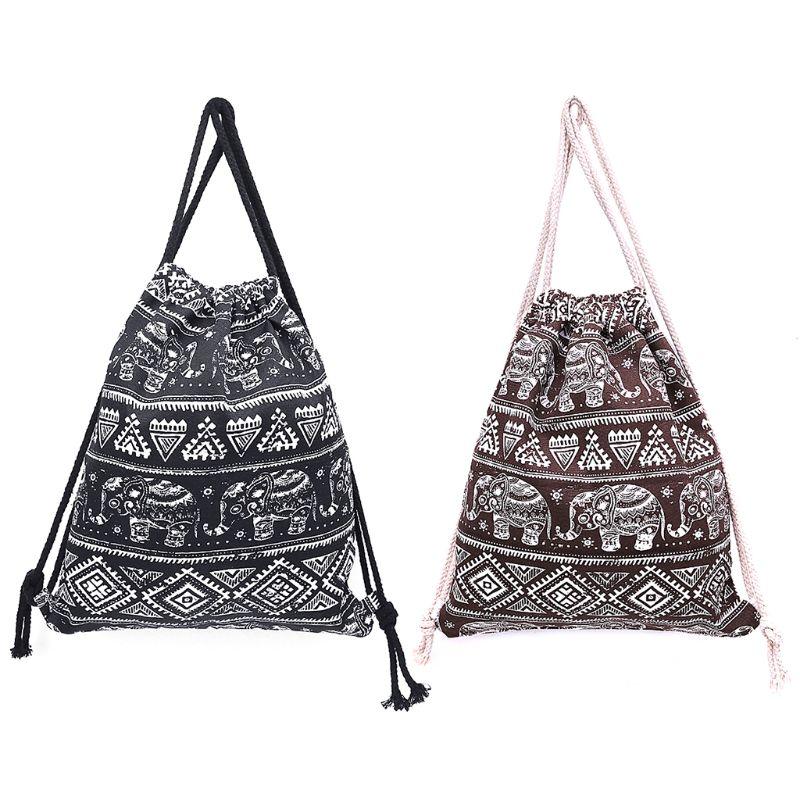 THINKTHENDO Girl Women Drawstring Bags School Cinch Sack Travel Ethnic Style Canvas Sports 2018