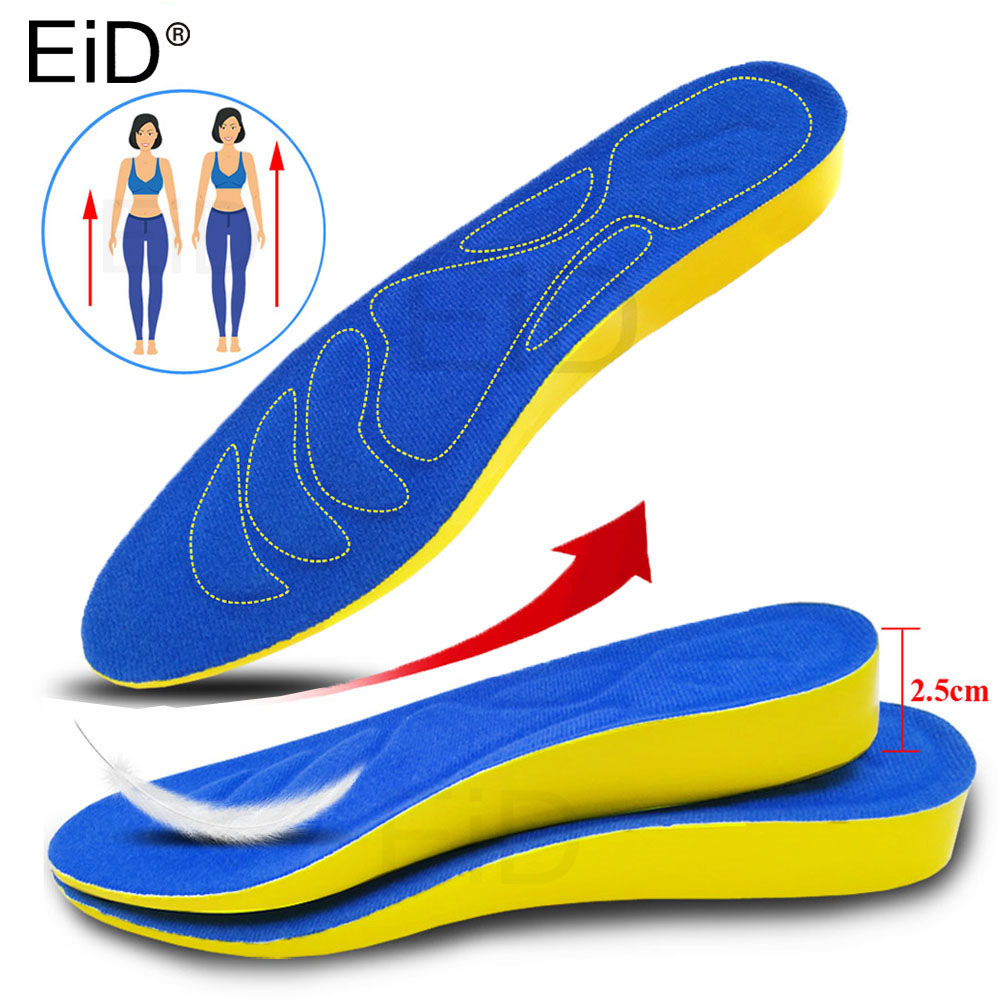 EiD 2.5cm Height Increase Insole Cushion Height Lift Adjustable Cut Shoe Heel Insert Taller Support Absorbant Foot Pad Man Women