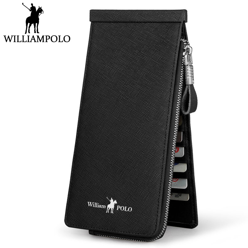 Williampolo Long Wallet Genuine Leather For Men Fashion Brand Cowhide Women's Purse With 26 Business Card Holder Wallet Phone business long men wallet new fashion genuine leather pouch famous brand vintage purse card