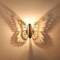 Бабочка Золотая Настенные светильники света в помещении современные светодиодные лампы Спальня бра для дома Гостиная ночной Светильник до