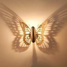 Butterfly Gold Wall font b Lamps b font Light font b Indoor b font Modern Led