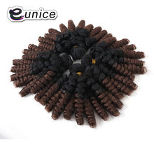 Eunice Funmi Curly Hair Bundles 4Pcs/Pack 18inch *4 Synthetic Hair Weave Ombre Color Grey/BUG/#30 Kanekalon Fiber Hair Extension(China)