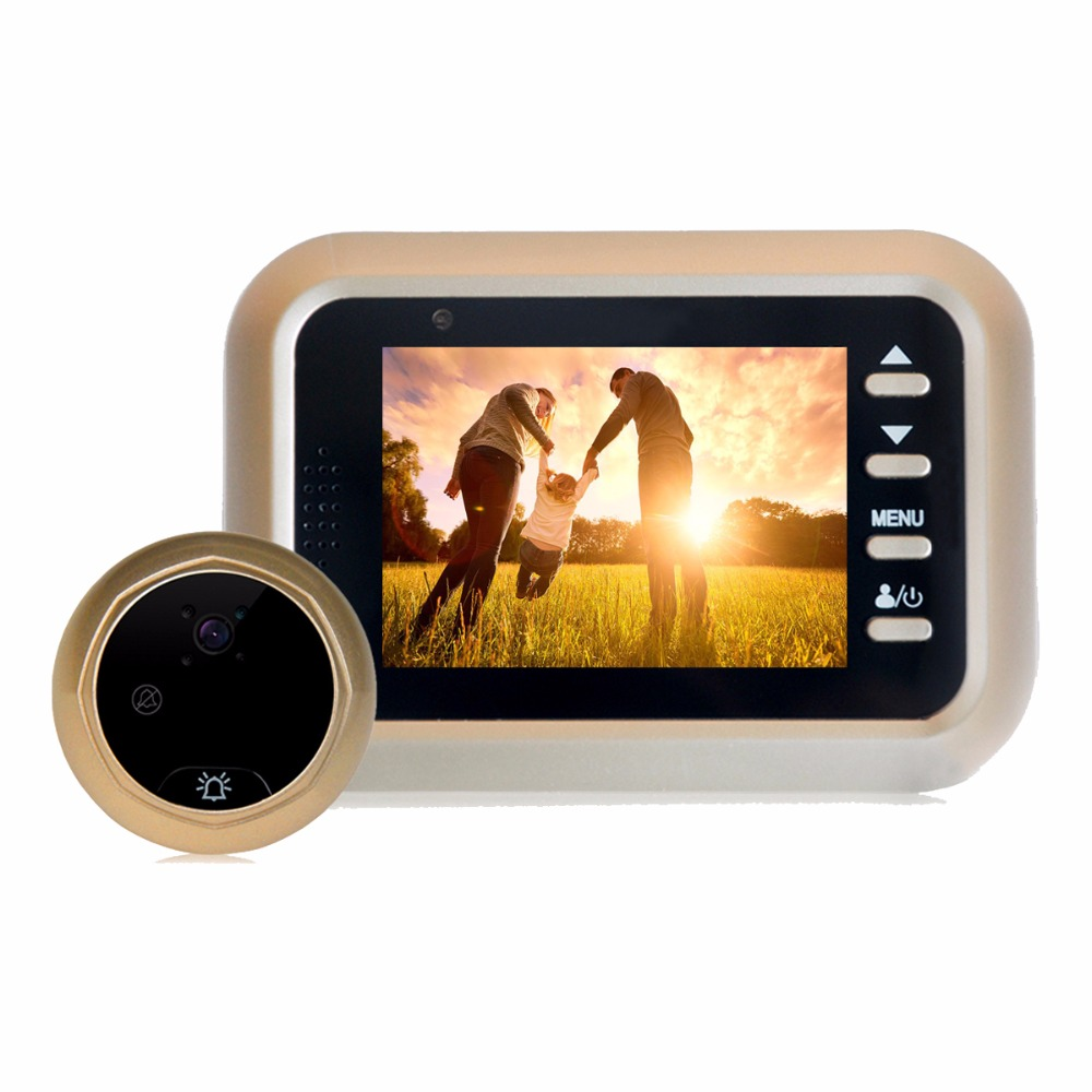2.4 inch HD Color Screen Smart Peephole Video Doorbell Home Security Access Control Door Viewer With Night Vision Gold F3369J hd villa type wired video doorbell 7 inch color camera screen night vision doorbell with memory card