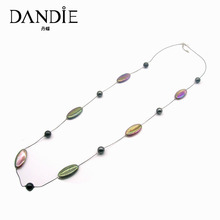 Dandie Long Thin Chain With Oval And Round Acrylic Bead Jewelry Necklace, Fashion Trend Handmade
