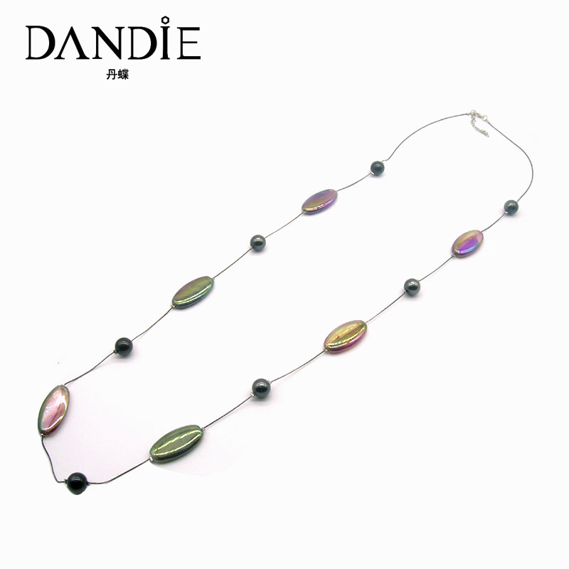 Dandie Long Thin Chain With Oval And Round Acrylic Bead Jewerly Necklace, Fashion Trend Handmade Jewelry