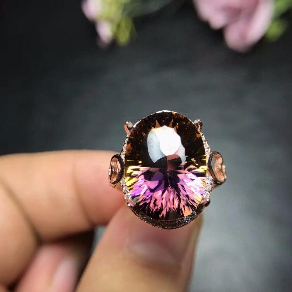 Uloveido ปรับ Rose Gold ธรรมชาติ Ametrine แหวน 925 เงินสเตอร์ลิงแหวนงานแต่งงานเครื่องประดับสำหรับสาว 20% FJ306-ใน ห่วง จาก อัญมณีและเครื่องประดับ บน   2