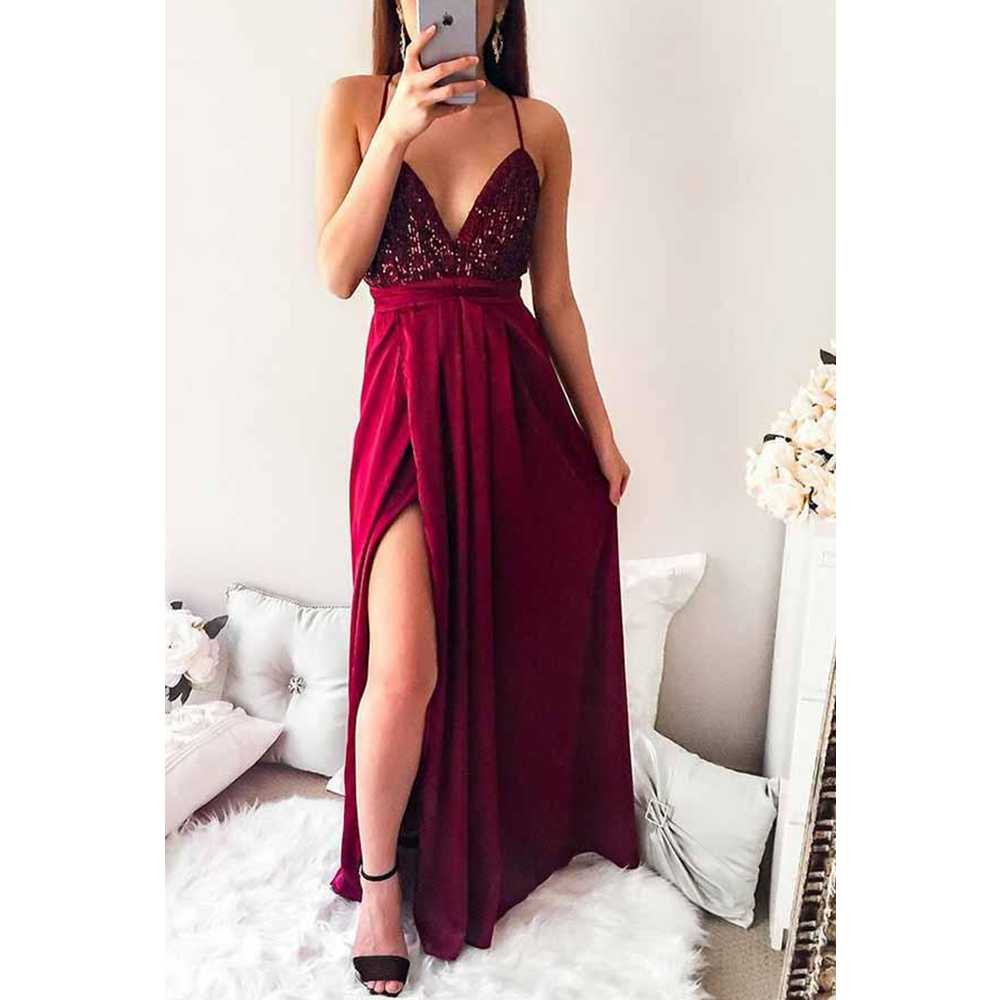 V Neck Long   Prom     Dresses   Spaghetti Straps Burgundy Chiffon Sequin Sleeveless Cross Back Sweep Train Evening Formal Party   Dress