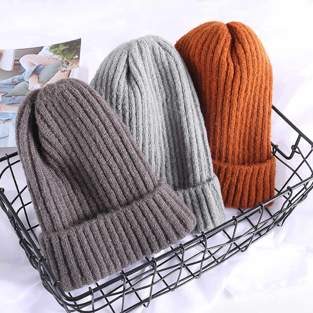 509390823d3 2018 New girls Beanies Knitted cap harajuku Trendy Chic Knitting Slouchy  Baggy Winter warm Hat Oversize