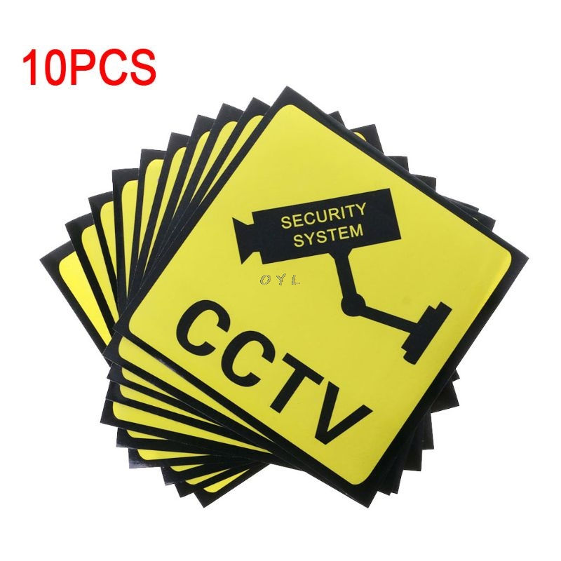 10PCS Warning Stickers For CCTV SECURITY SYSTEM Self-adhensive Safety Label Signs Decal 111mm Waterproof