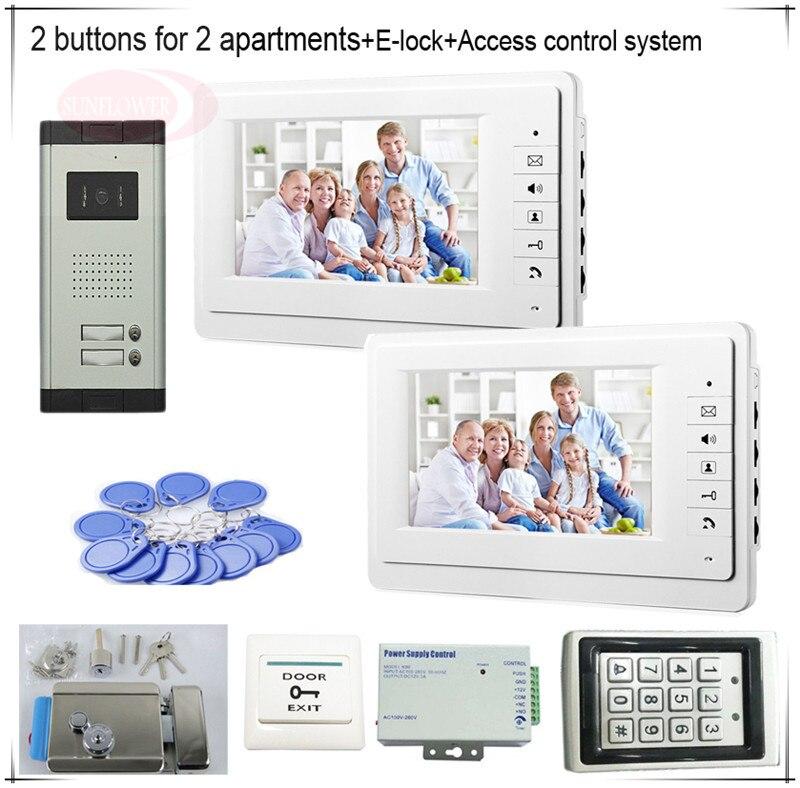 2 Пуговицы Цвет видеодомофонов Системы s 2 ЖК-дисплей безопасности Дверные звонки на 2 квартиры + Система контроля доступа + E замок-