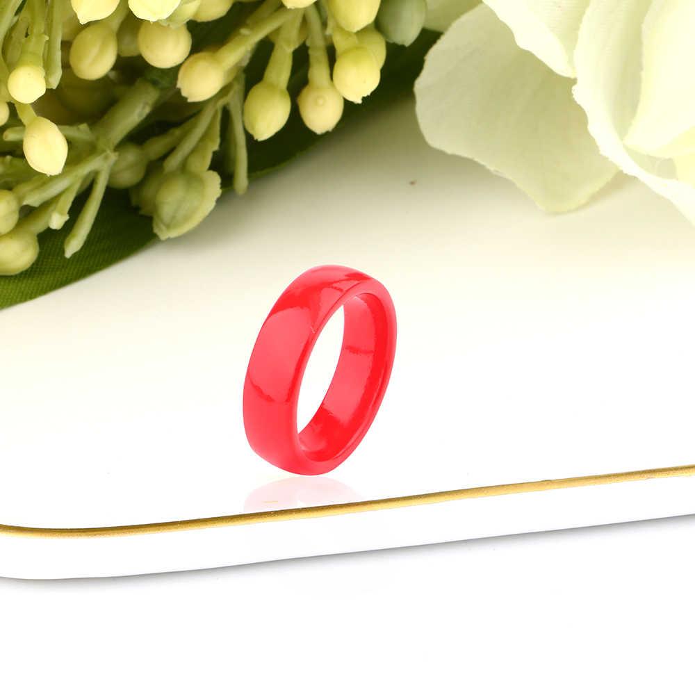 6 مللي متر السلس الأحمر خاتم من السيراميك للنساء أسلوب بسيط السيراميك خاتم الزواج حفلة الإناث زهرة فنجر مجوهرات هدية 2019 دروبشيب