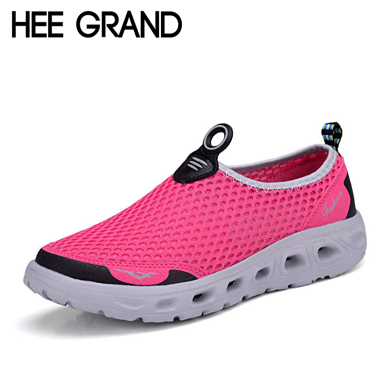 HEE GRAND Women Shoes For 2017 New Summer Casual Mesh Shoes Woman Breathable Soft Flats Slip-on Loafers Size Plus 35-40 XMR1619 gold sliver shoes woman for 2016 new spring glitter bling pointed toe flats women shoes for summer size plus 35 40 xwd1841