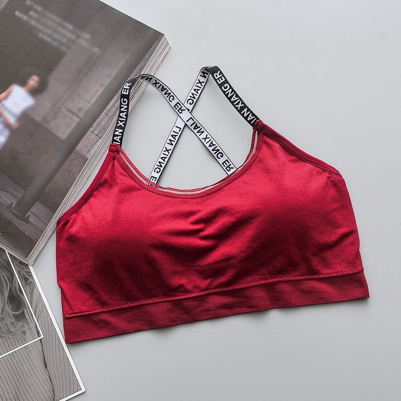 Woman Seamless Letter Print Bra Beauty Back Tanks Top Female Tube Top Underwear