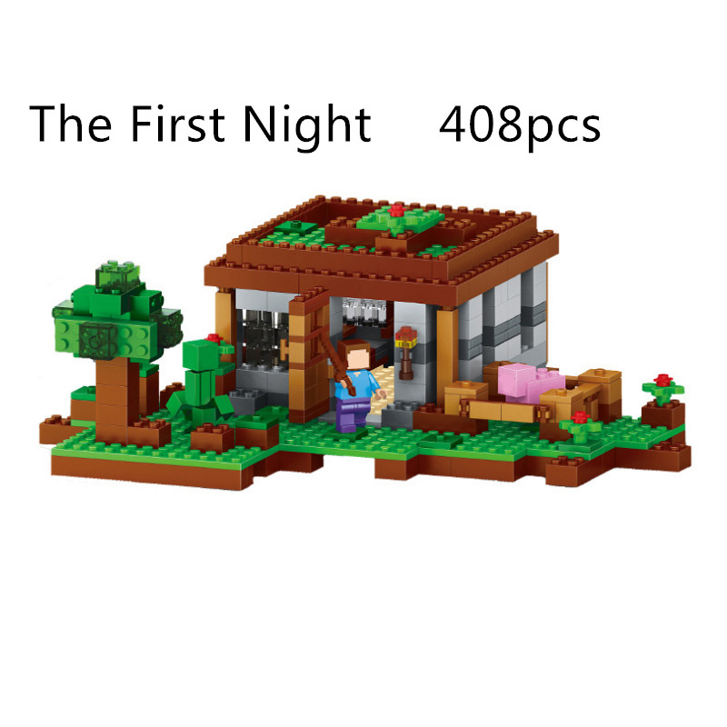 ФОТО Lepin My World Minecraft The First Night Model kits anime action figures Building Blocks Bricks hot Toys For Children gift 21115