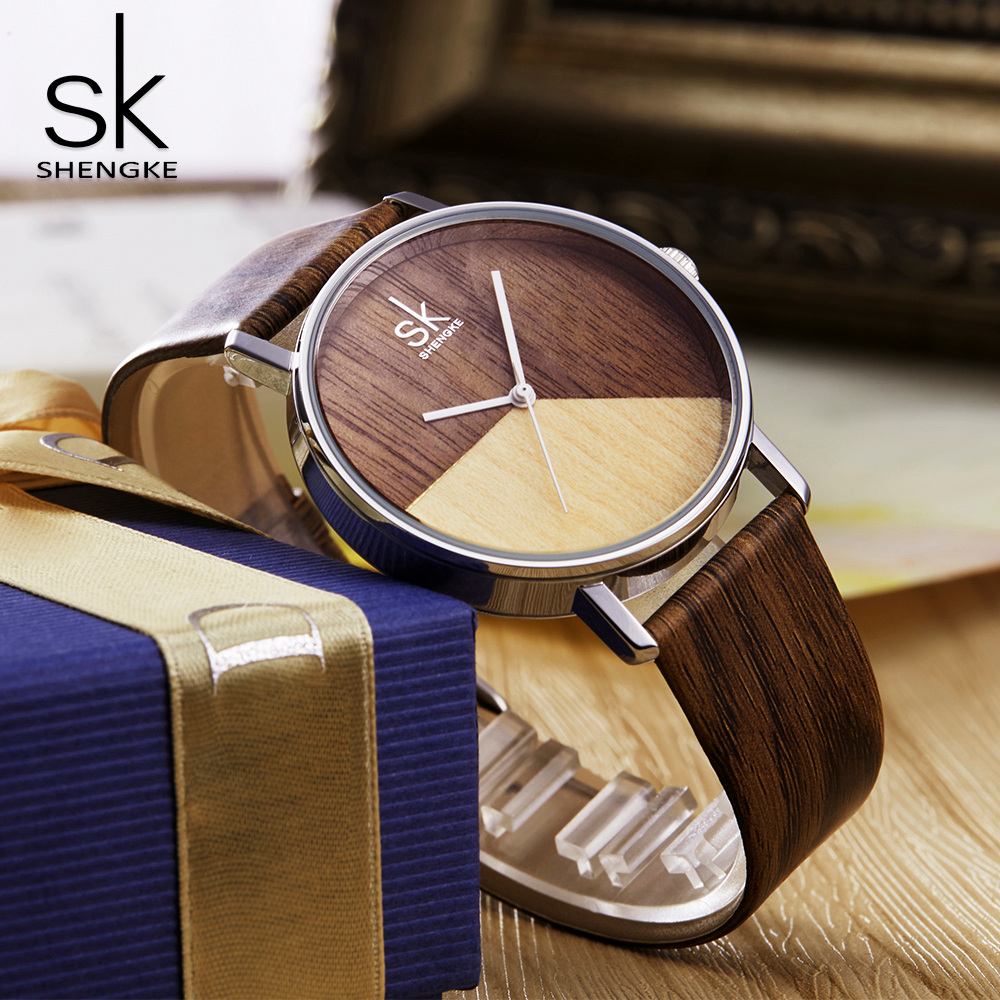 SK New High Quality Women Watches Imitation Wood Style Leather Watch Band Female Japanese Quartz Analog