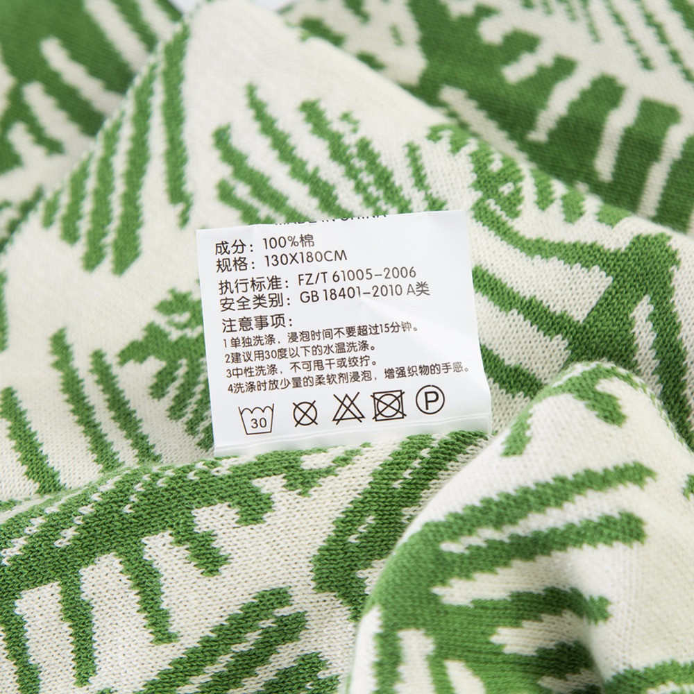 Green White Leaf Pattern 100% Cotton Bedding 1pcs Blankets Bedspread Blanket Manta Coral Flannel Sofa/Couch Bed/Plane Travel - 2