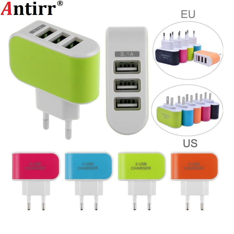 Universal Multi Port USB Charger 3 Ports 5V Travel USB Wall Power Adapter EU US Charger Charging For iPhone Xiaomi Samsung HTC