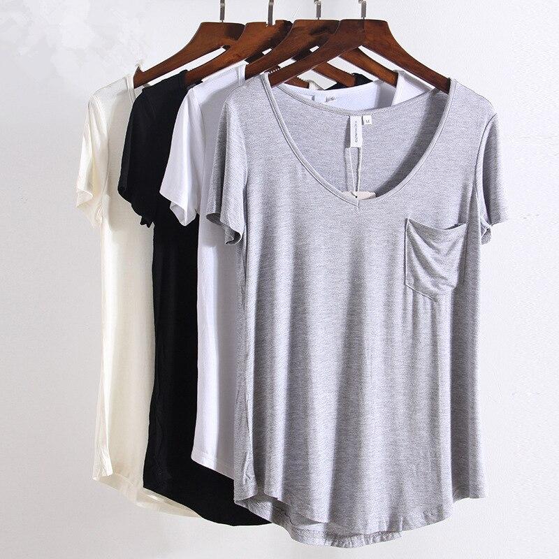 חדש V צוואר שרוול קצר אופנה כל משחק בתוספת גודל S-4xl גופיות נשים קיץ t טי צמרות סגנון אירופאי חולצה בסיסית רופפת 1408